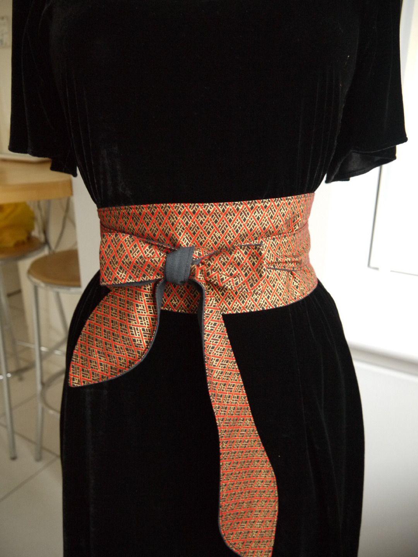 Ceinture obi réversible -rouge or noir - doublée lin rouge, ceinture ... be2d00decb0