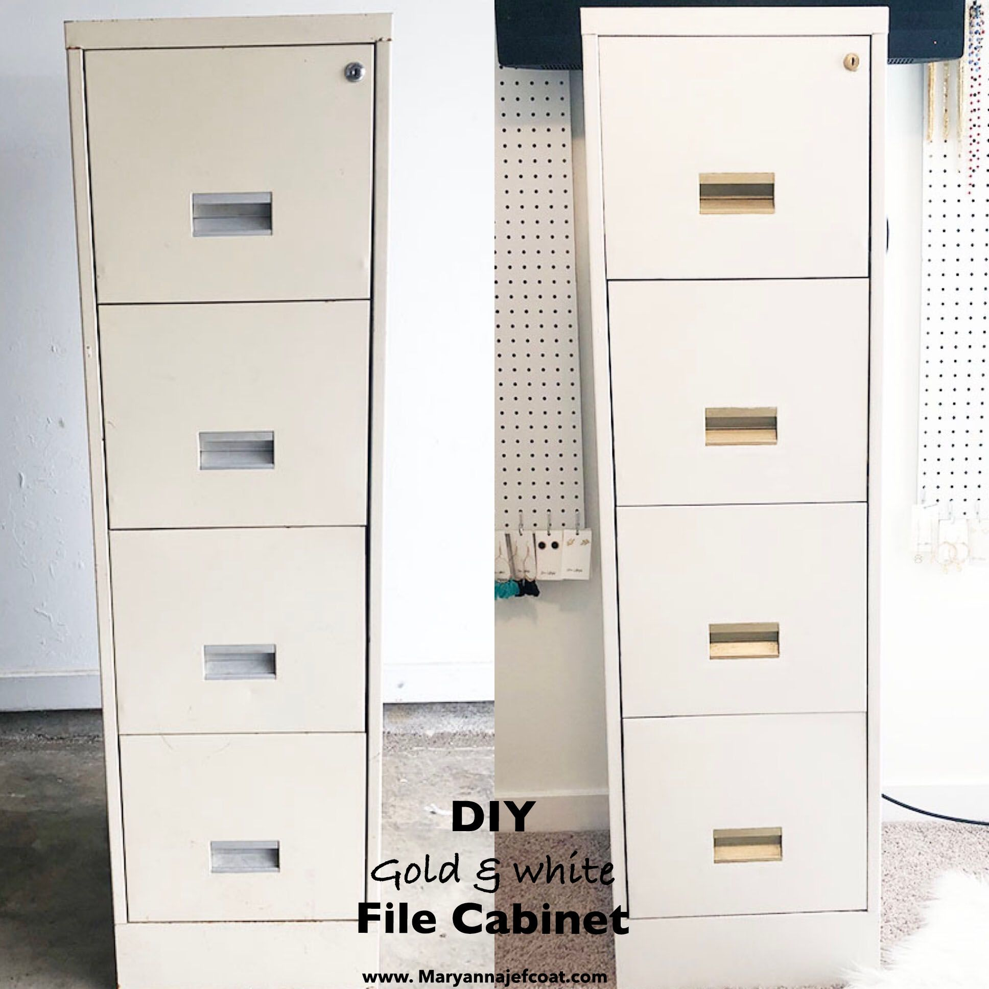 Diy Gold And White File Cabinet Chalk Painted File Cabinet Diy Gold Hardware Budget Office M Painted File Cabinets Diy File Cabinet File Cabinet Makeover