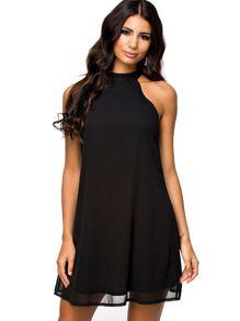 Black High Neck Sleeveless Swing Dress