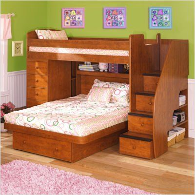 Sierra Twin Over Full L Shaped Bunk Bed With Chest Stairs Finish White