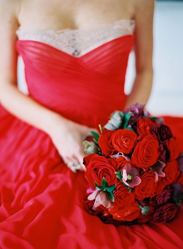 Red Wedding Dress Red Bouquet Wedding Red Wedding Dresses Red