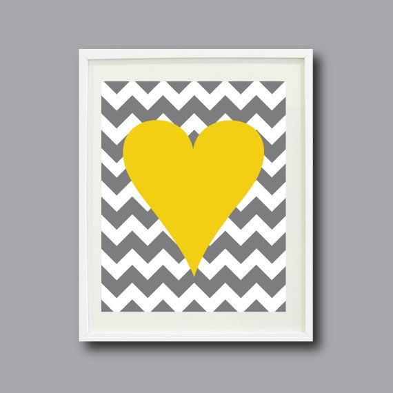 Chevron Stripes Heart Art Print 11x14-Nursery, Kids Room, Playroom ...
