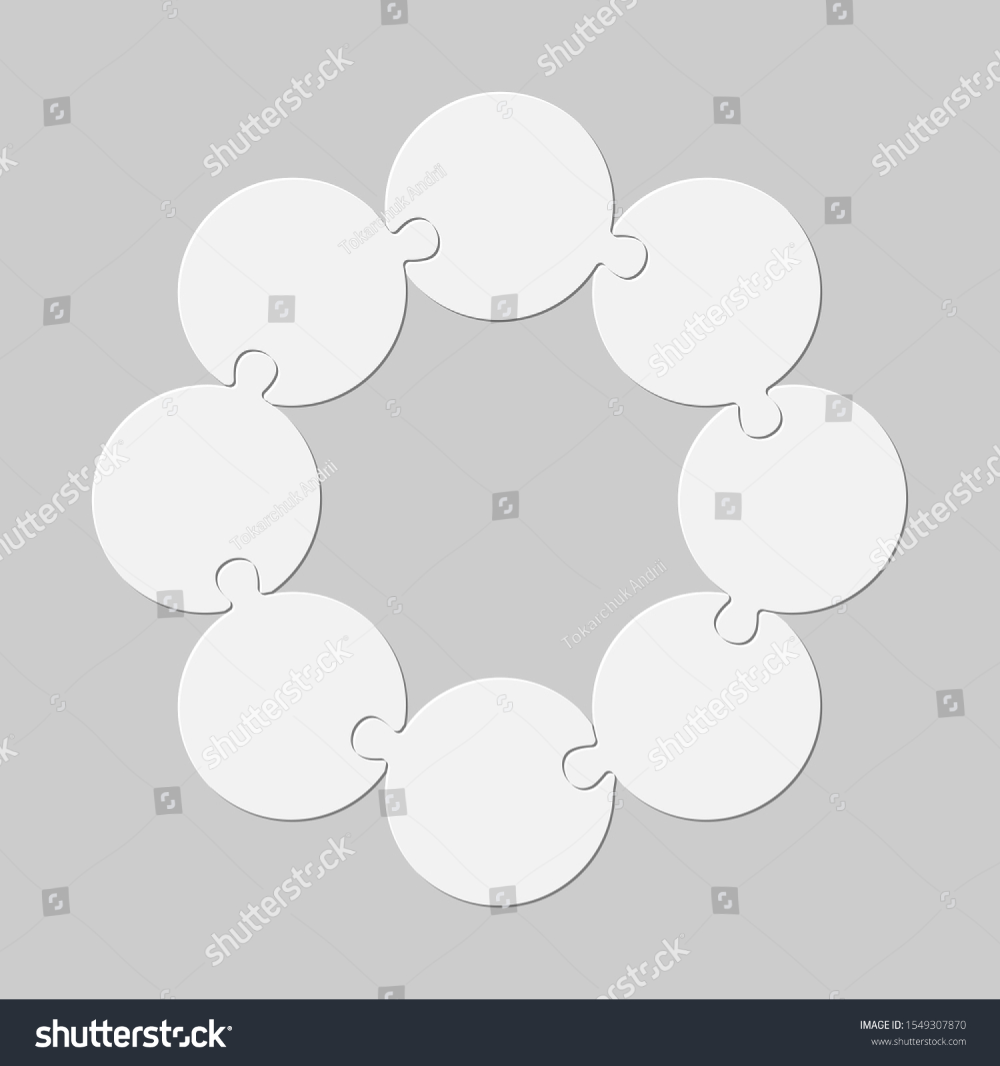 Eight Pieces Puzzle Circles Line Circles Stock Vector