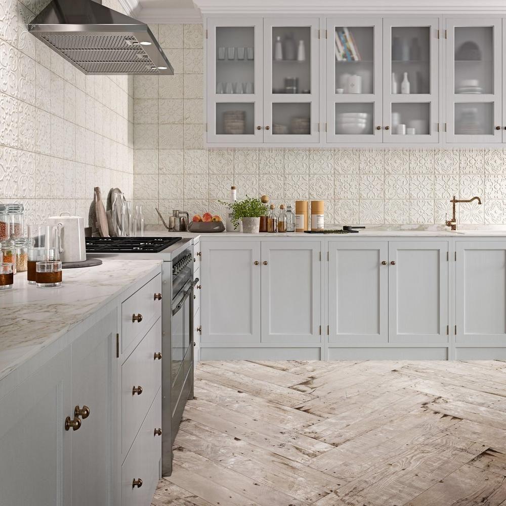 Aged White Ornato Matte Ceramic Tile Minimalist Kitchen Design