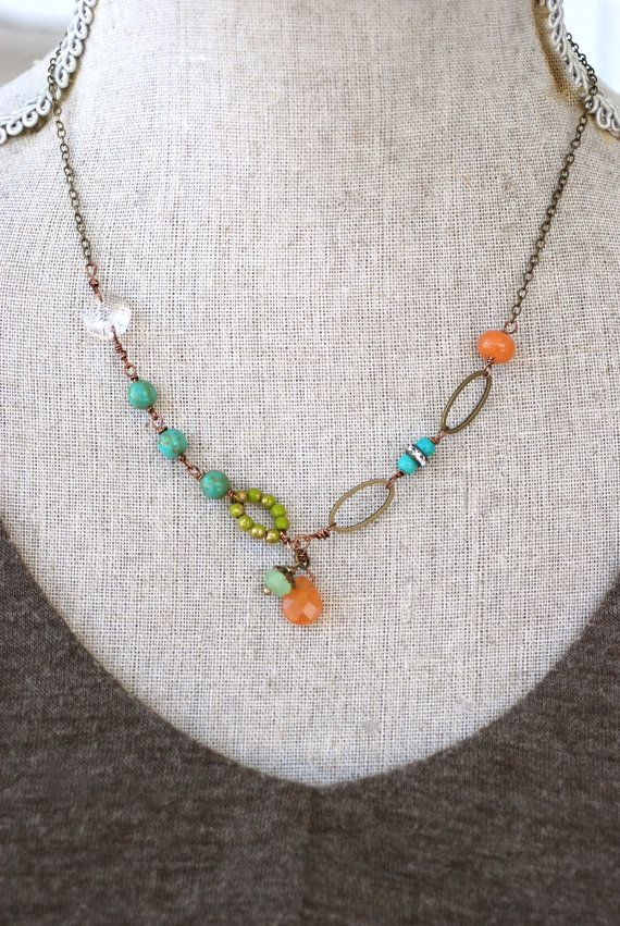 Clara.  boho glass beaded crystal gemstone by tiedupmemories, $36.00