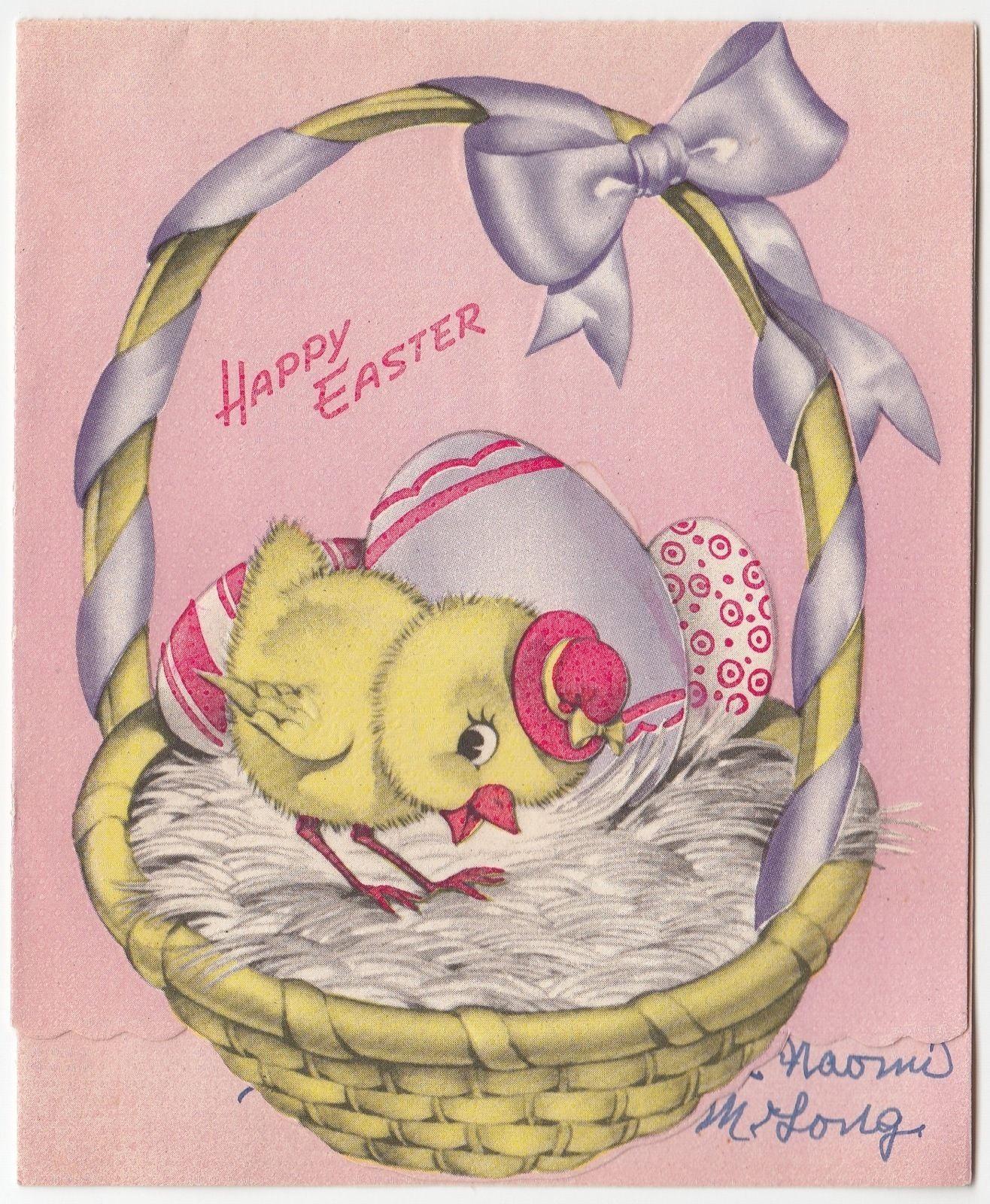 Vintage Greeting Card Easter Basket Cute Chick Pop Up Egg Hatching