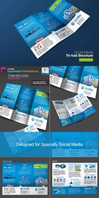 Social Media Trifold Brochure Template InDesign INDD Brochure - Tri fold brochure template indesign