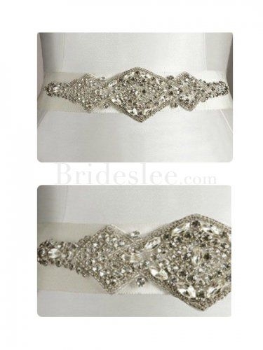 Cheap Formal Satin Jeweled Wedding Bridal Ribbon Sash