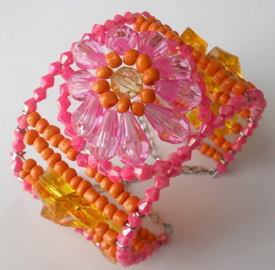 Passo a passo Bracelete de Verão com flor..