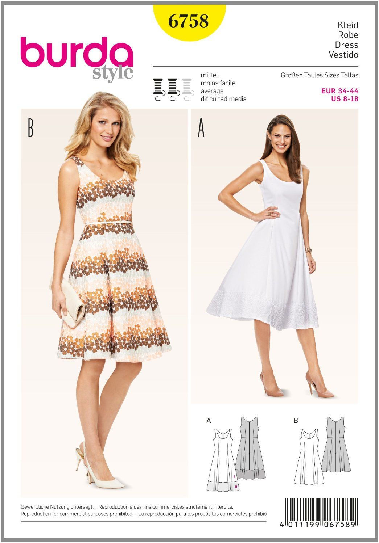 burda Schnittmuster Kleid 6758: Amazon.de: Küche & Haushalt ...