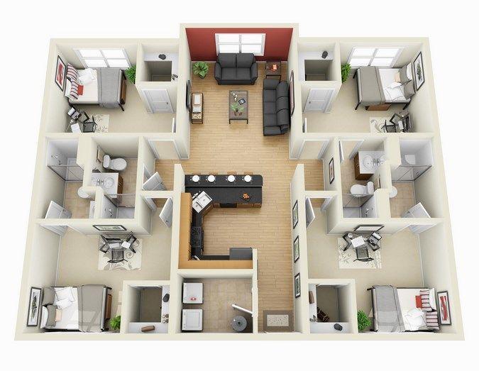 rumah mewah 1 lantai 4 kamar tidur