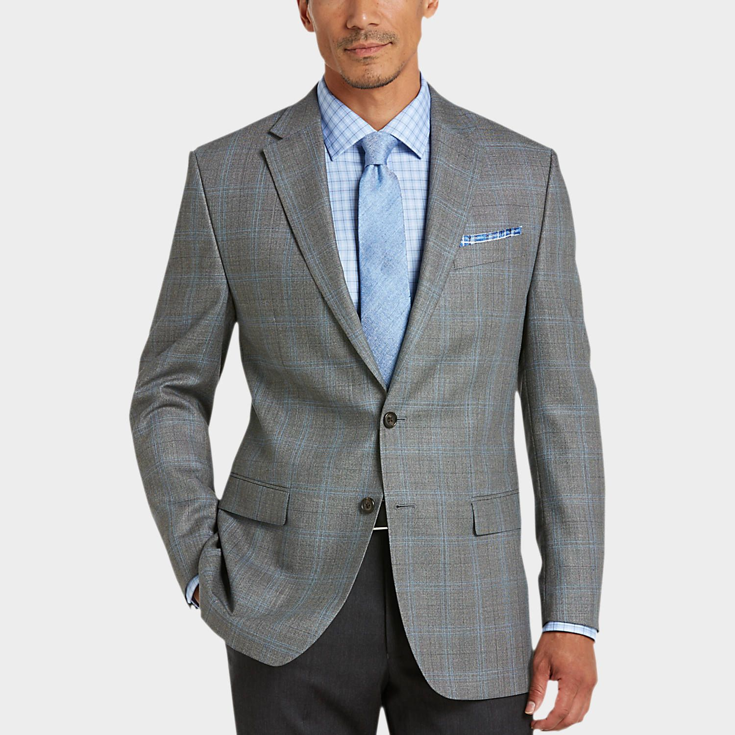 Buy a Lauren by Ralph Lauren Gray Plaid Classic Fit Sport Coat and ...