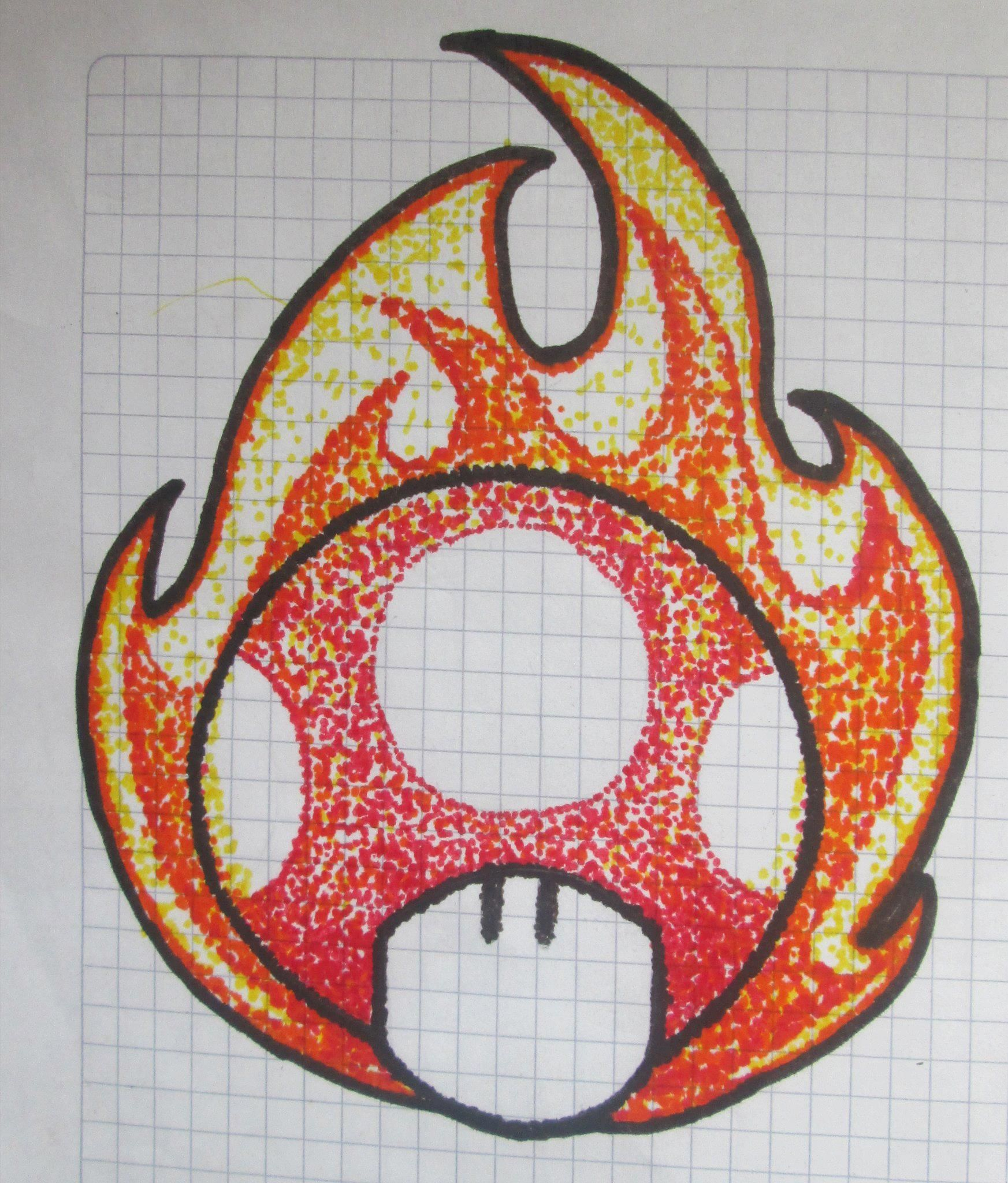 Puntillismo con marcadores hongo de fuego mis dibujos - Pintar bano con hongos ...