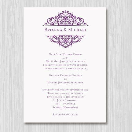 Printable Wedding Invitation Template Grace Plum Purple Editable