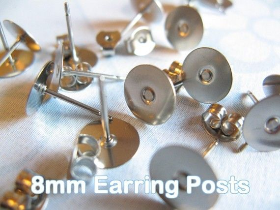 Surgical Stainless Steel 10mm Flat-Pad Earring Posts and Backs findings 24pcs