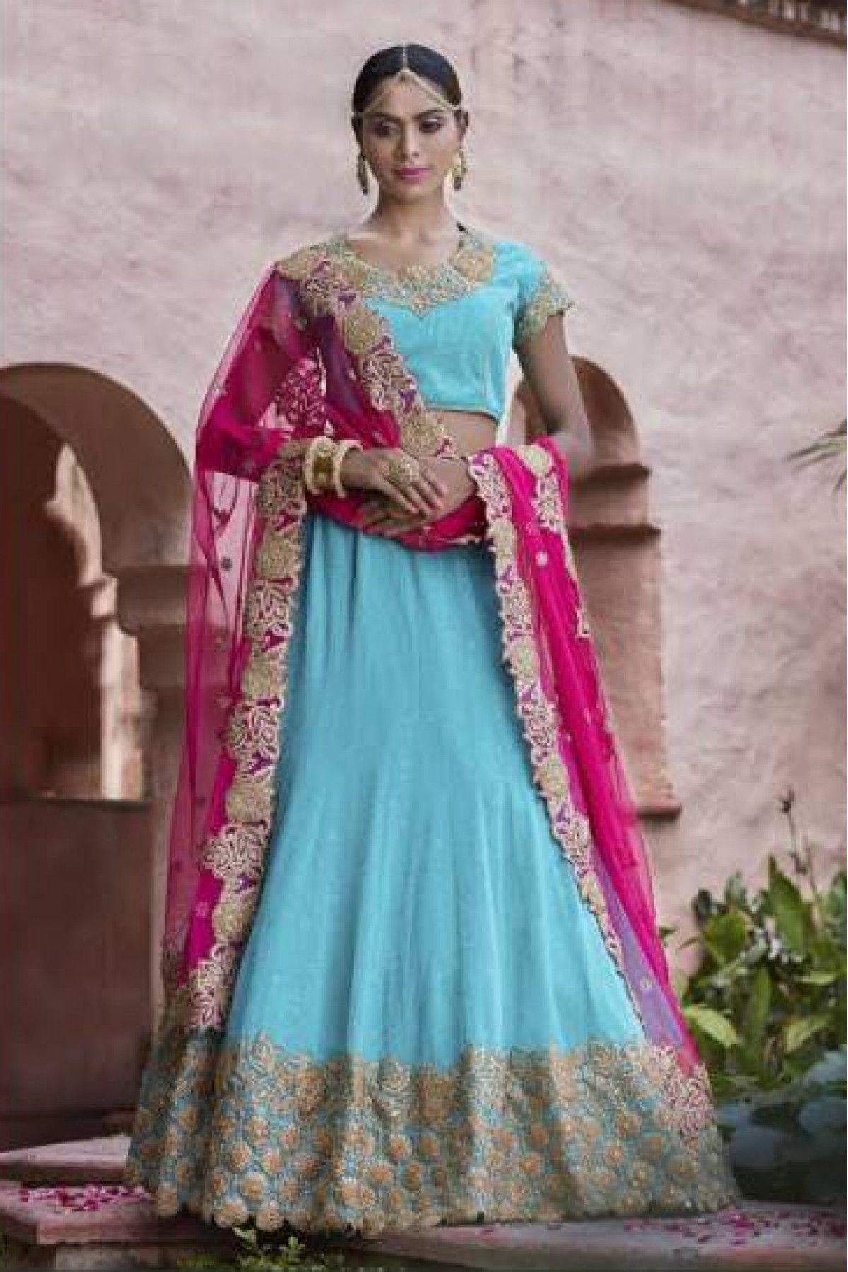 4f9406b5d0 Sky Blue and Pink Colour Georgette and Net Fabric Designer A Line Lehenga  Choli Comes With Matching Blouse and Dupatta. This Lehenga Choli Is Crafted  With ...