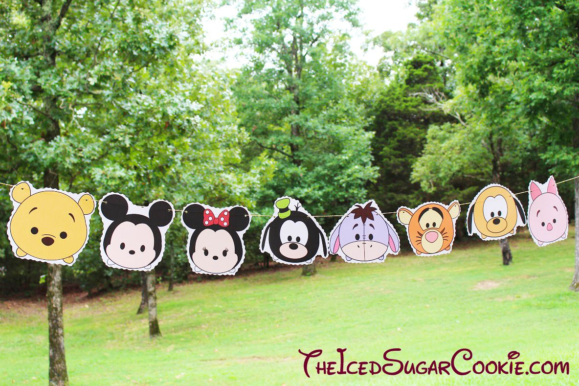 Tsum Tsum Disney Characters Birthday Party Flag Hanging Banner DIY