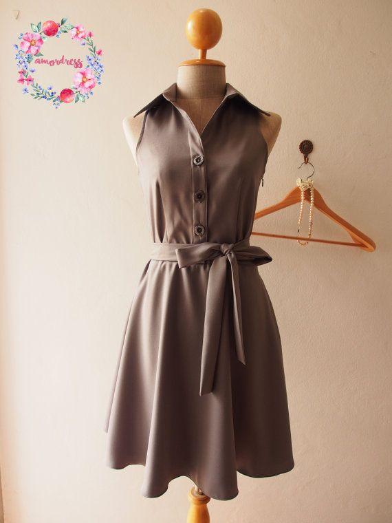 DOWNTOWN  Summer Dress Dark Gray Shirt Dress Gray by Amordress