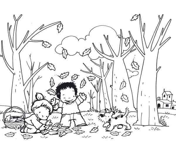 Kids And Dog Collecting Autumn Leaf Coloring Page
