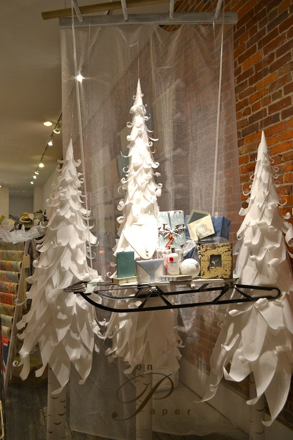 2017 Holiday Window Display Contest And The Winner Is Short Christmas Displaypaper Treeswhite