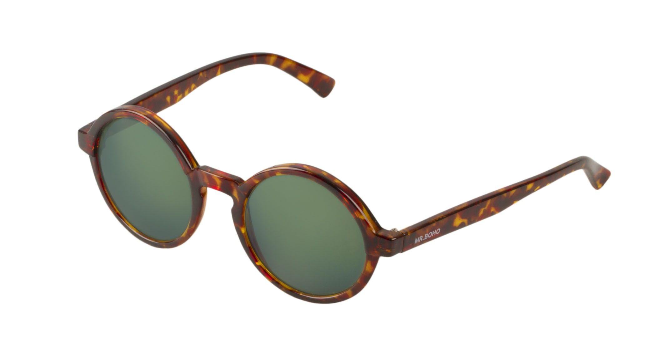 MrBoho Cheetah Tortoise Dalston with dark green lenses