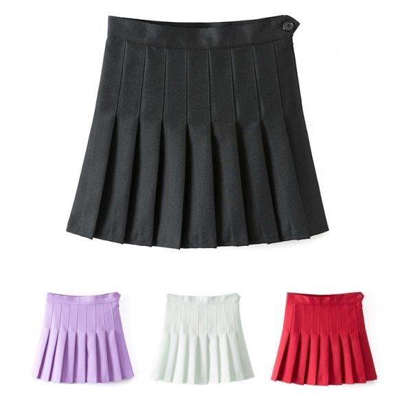 Sexy Women High Waist A-Line Pleated Skirt Tennis Solid Mini Skirt ...