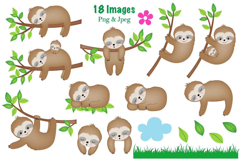 Sloth clipart,Sloth graphics & illustrations,Cute Sloths