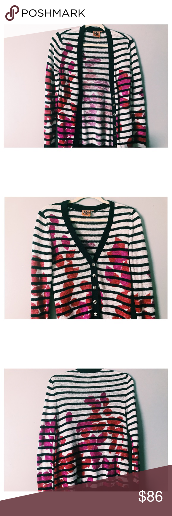 Tory Burch Cardigan | Navy stripes, Navy and Floral
