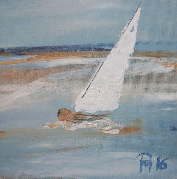 Segelboot sonnenuntergang gemalt  Segelboot graublau 30 x 30 cm gemalt Maritim | Segelboot ...