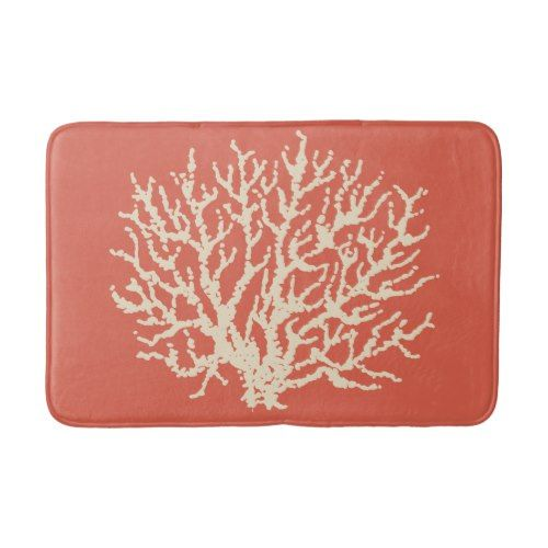 Bright Beach Sea Coral Bath Mat Rug Bathroom Decor Bath Mats - Bright bath mat for bathroom decorating ideas