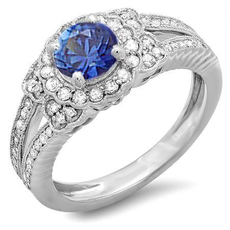 Thanks for Sharing!  1.30 Carat (ctw) 18k White Gold Round Blue Sapphire And White Diamond Ladies Split Shank Halo Vintage Bridal Engagement Ring - Dazzling Rock #https://www.pinterest.com/dazzlingrock/
