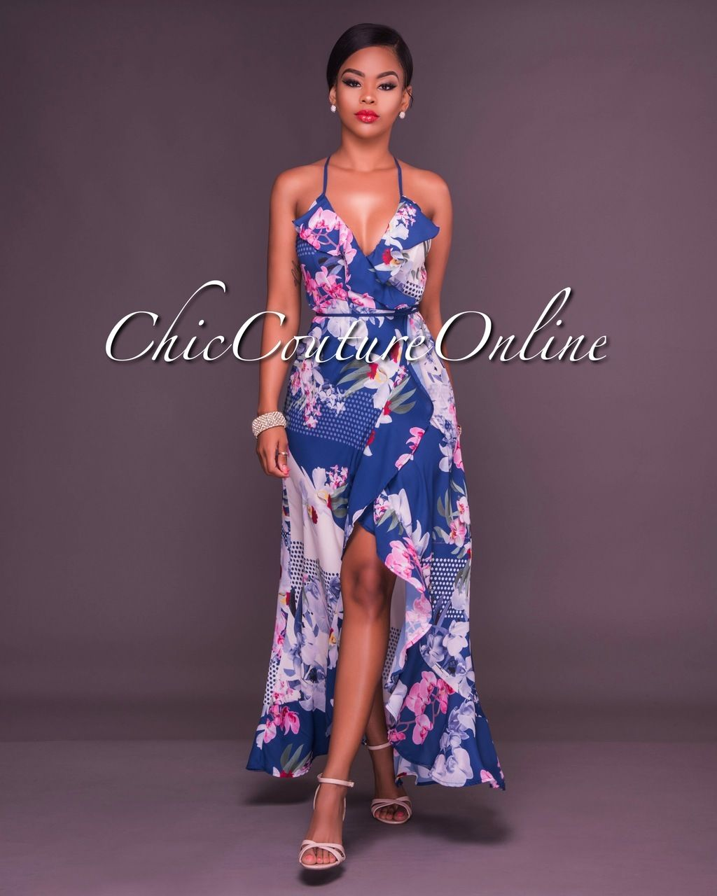 Chic Couture Online - Franny Blue Floral Ruffle Wrap Maxi Dress ...