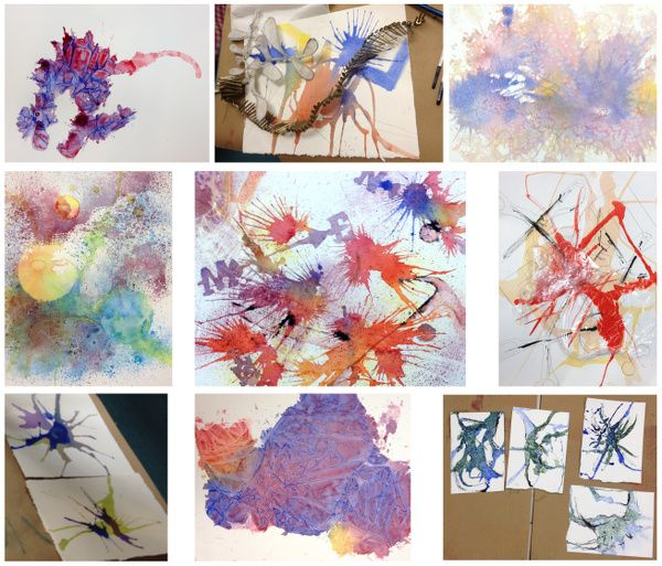 Sampler Of Special Watercolor Techniques In Grid Format For Srjc