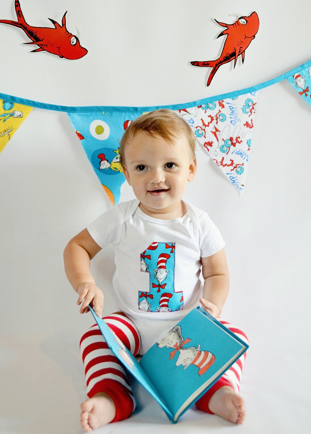 Cat In The Hat Dr. Seuss Inspired First Birthday Baby