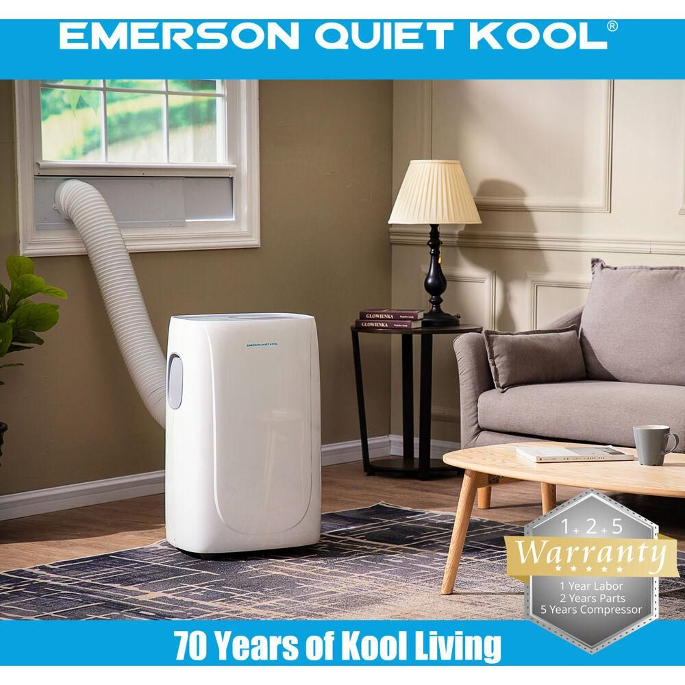 Emerson Quiet Kool 14 000 Btu Portable Air Conditioner With Dehumidifier And Remote Eapc14rd1 The Home Depot In 2020 Portable Air Conditioner Portable Air Conditioner Window Room Air Cooler