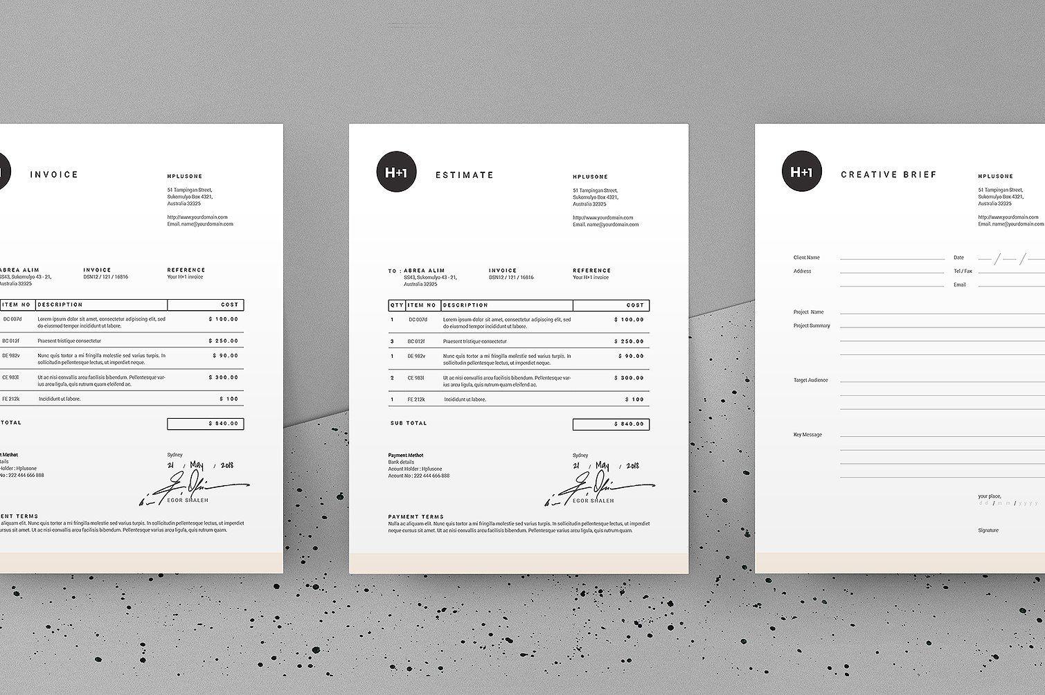 Invoice  Estimate  Brief  Typography