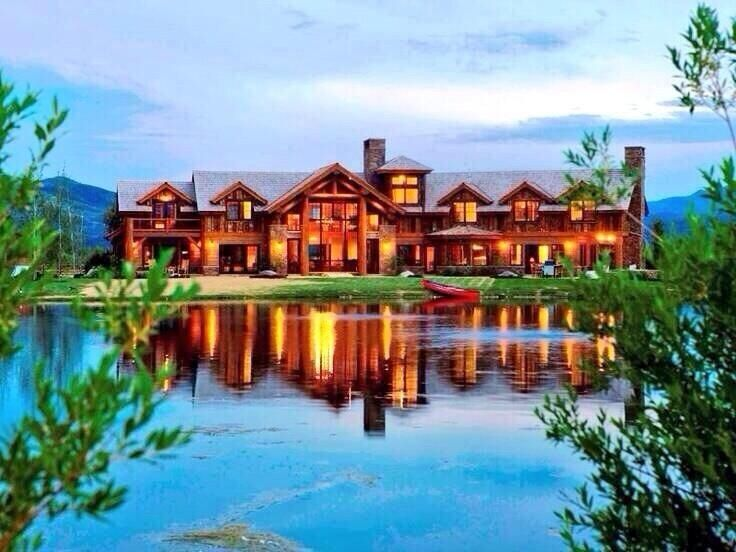 Lake House Log Cabin Mansion On The Water