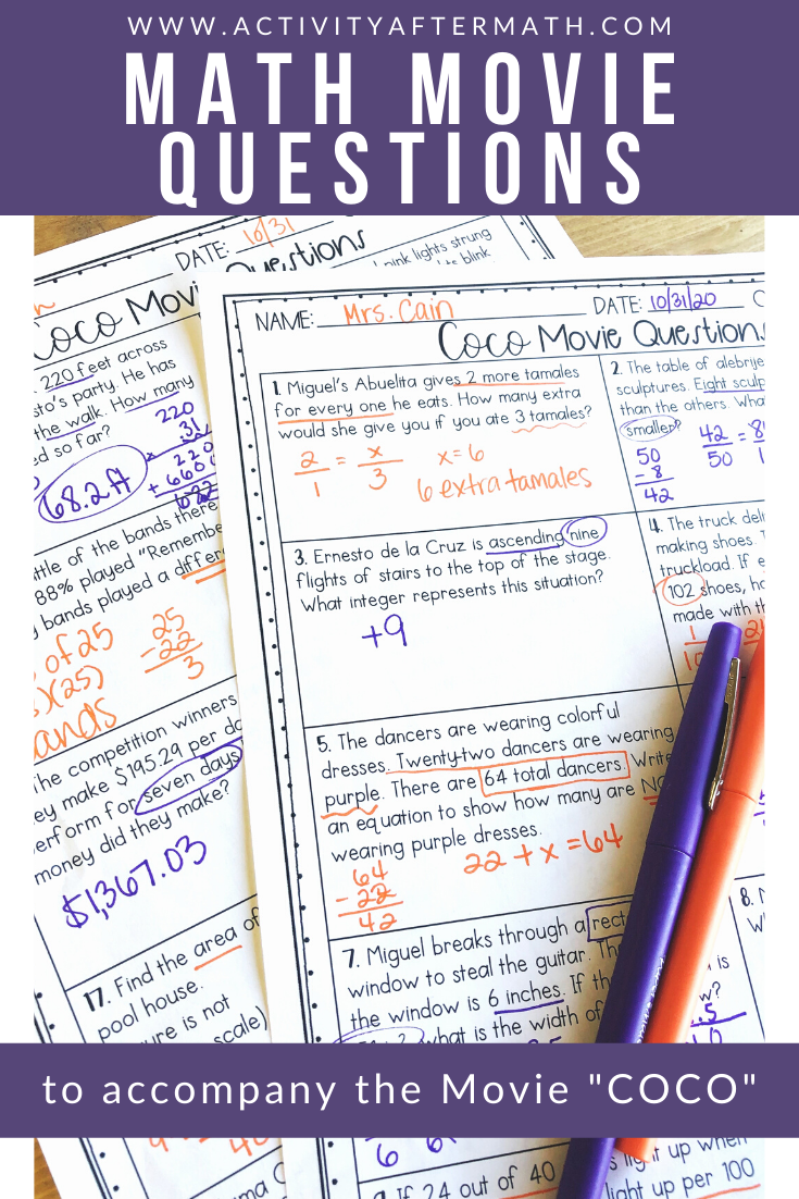 Math Movie Questions To Accompany Coco Halloween Math Activity Math Movie Questions Math Movies Halloween Math Activities [ 1102 x 735 Pixel ]