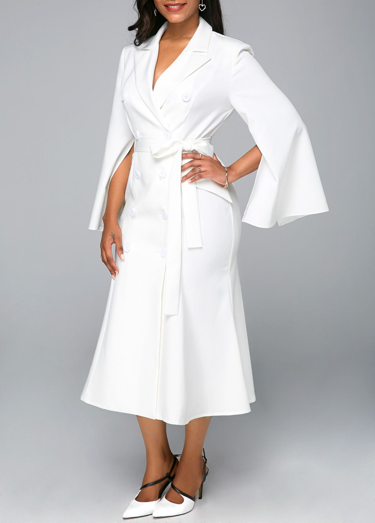 234d32ad1ea Belted Slit Sleeve White Button Detail Midi Dress