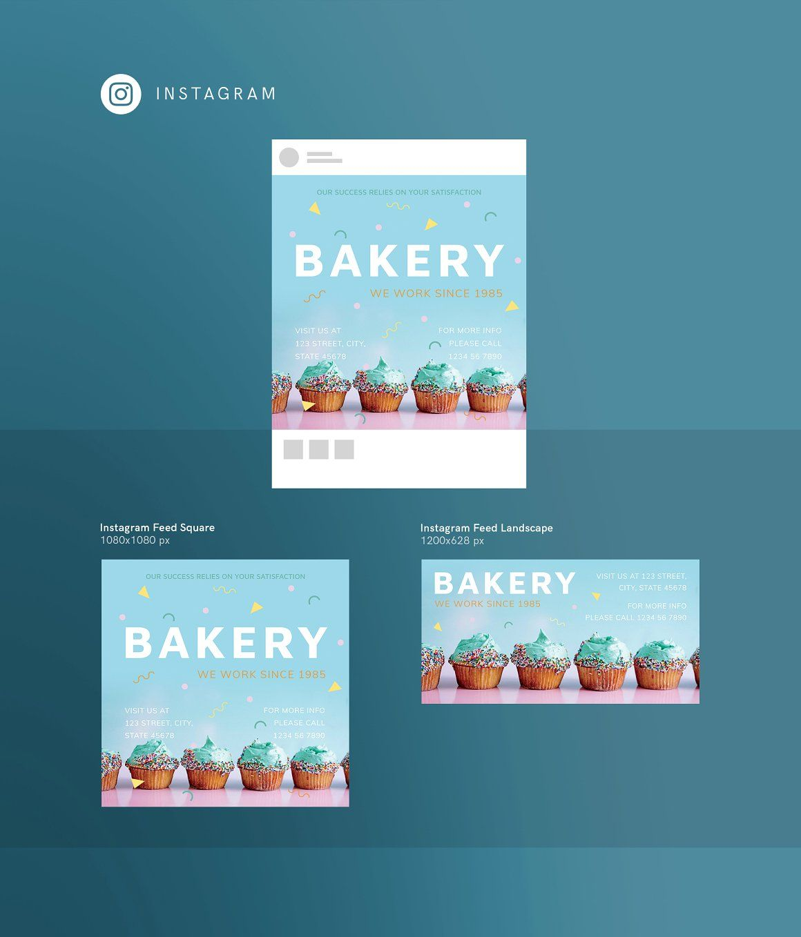 Ready-to-use Instagram post templates | Bakery - #Social Media #Templates. Instagram posts design for bakery.