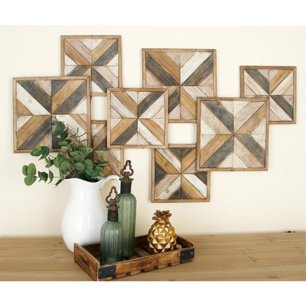 Litton Lane Rustic Brown Wooden Herringbone Panel Wall Decor 47917 - The Home Depot