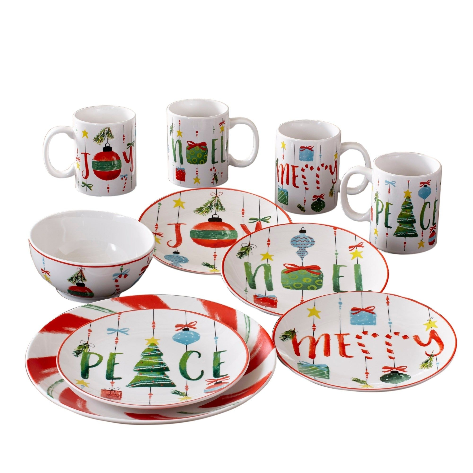 Ornaments 16pc Dinnerware Set Stoneware Red Dishwasher Safe