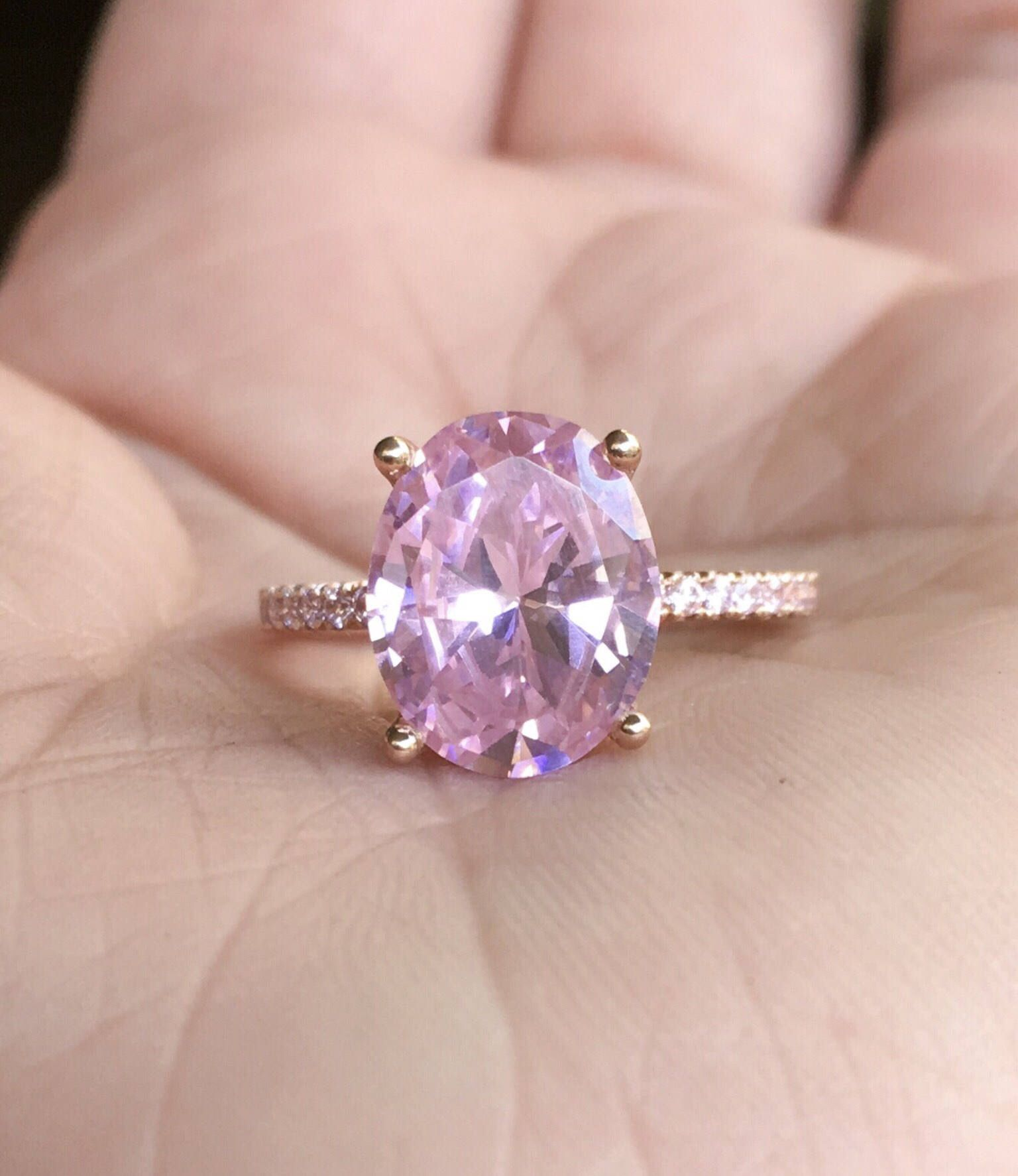 Pink Cubic Zirconia Ring CZ Engagement Ring Unique Pink CZ Solitaire ...
