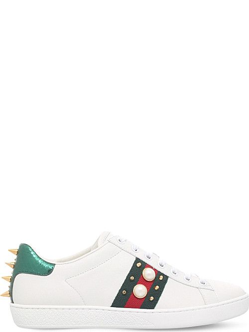 stud-detail leather trainers