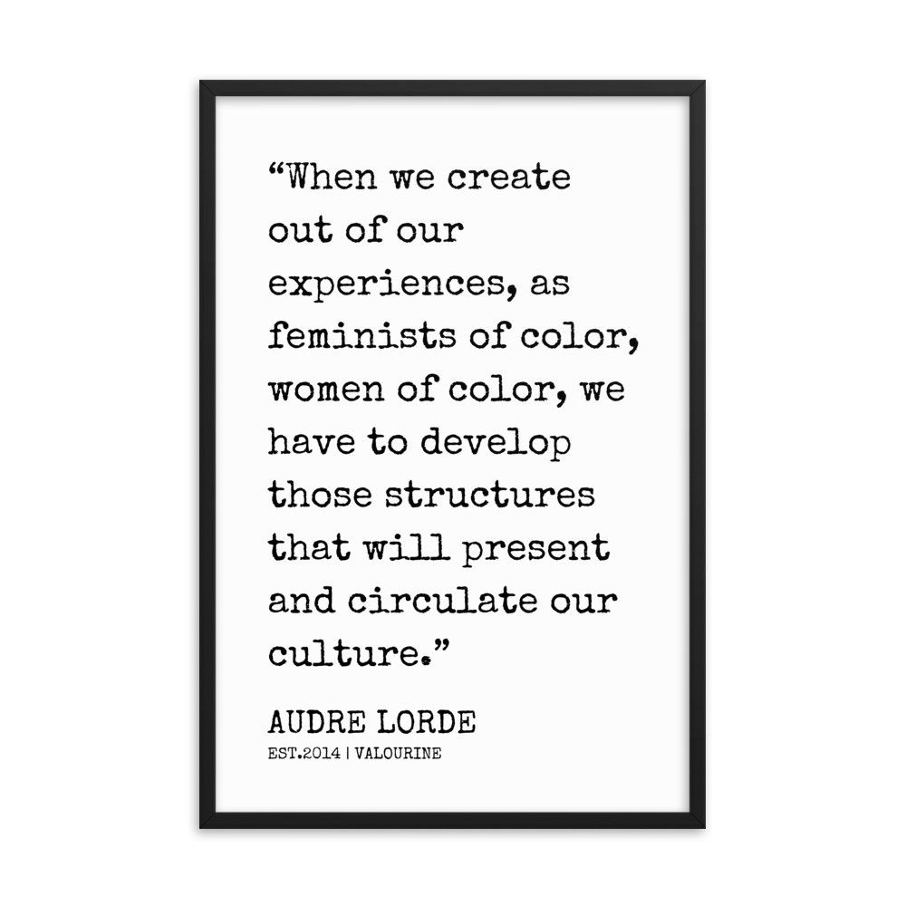 29  | Audre Lorde Quotes | Framed Print| 200606 | 12x18