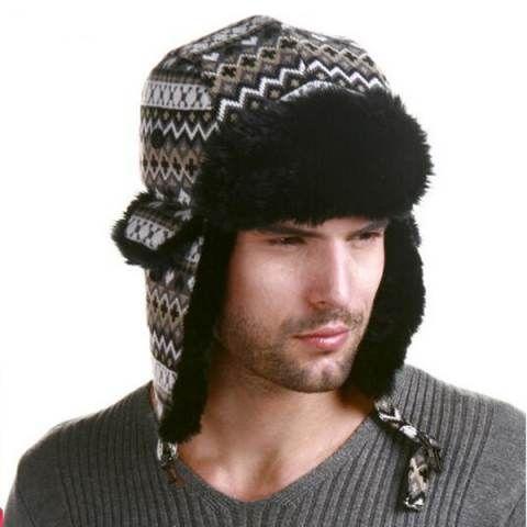 Ethnic aztec tribal bomber hat for men winter Ushanka hat outdoor wear b60c5d4f4e4