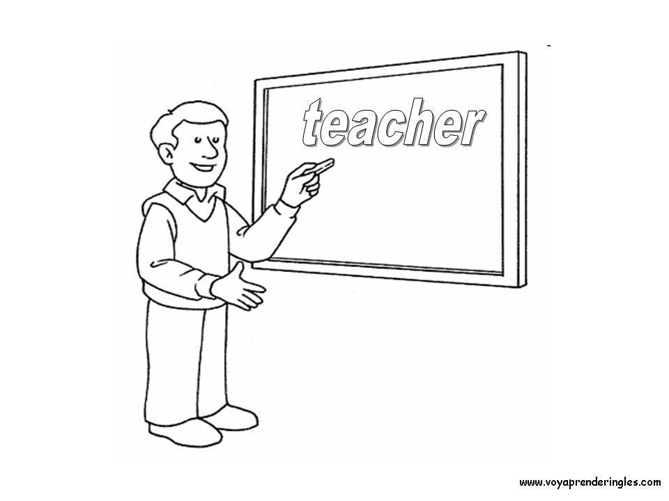 teacher classroom coloring page | colorear día padre, coloring jobs ...