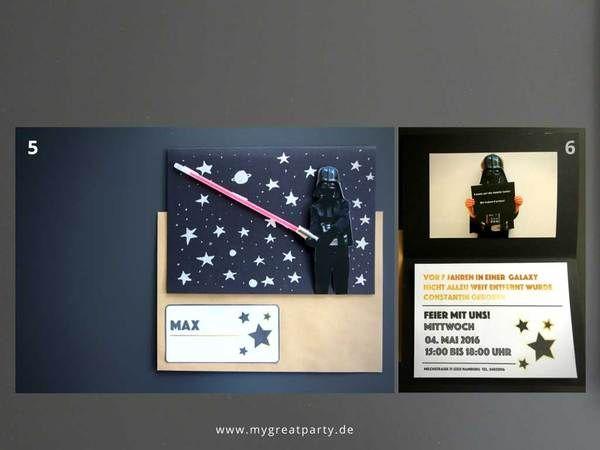 Eine Bastelanleitung Zum Nachmachen: Einladungskarte Für Eine Star Wars  Party Mit Rotem Knicklicht Als Laserschwert Und Darth Vader.