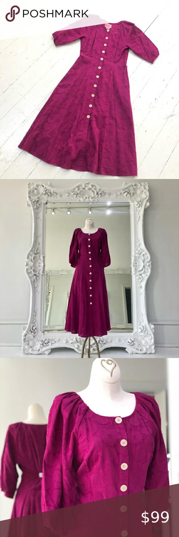 Kate Spade Berry Dress Buttons Down Front Berry Dress Dresses Puff Sleeve Dresses [ 1740 x 580 Pixel ]