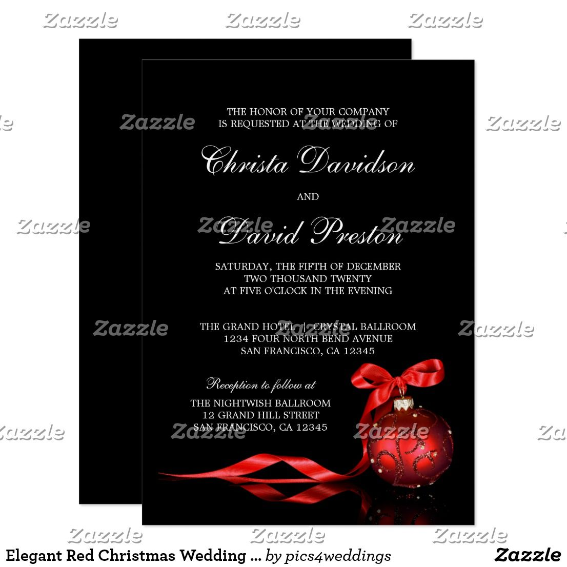 Elegant Red Christmas Wedding Invitations Template
